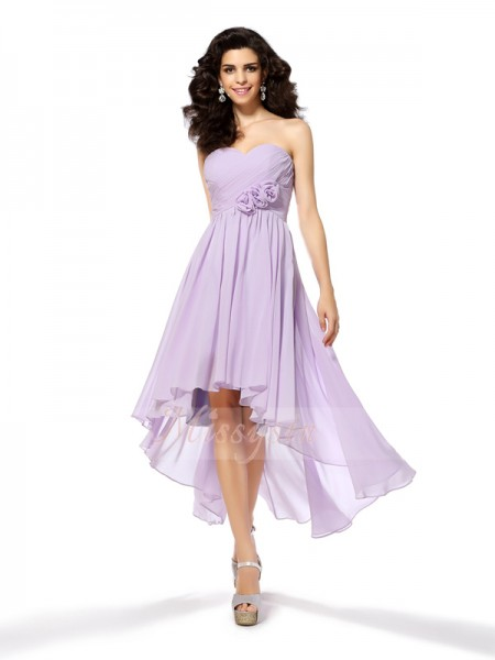 Sleeveless Sweetheart Chiffon Asymmetrical Lavender Cocktail Dresses