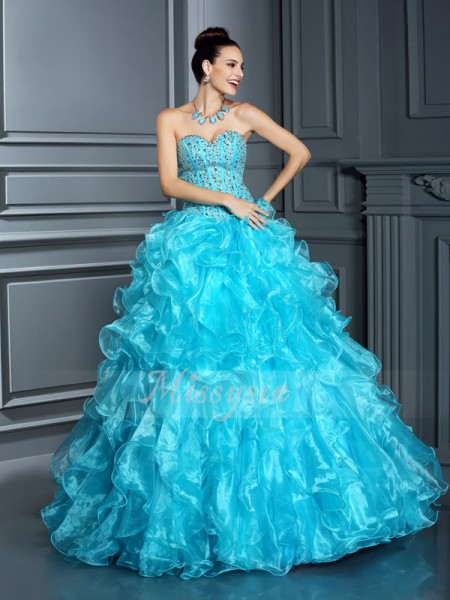 Ball Gown Sleeveless Sweetheart Organza Long Blue Dresses
