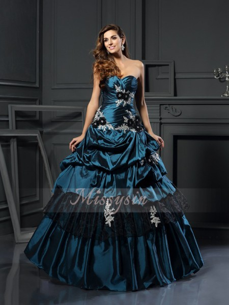 Ball Gown Sleeveless Sweetheart Taffeta Long Dark Green Dresses