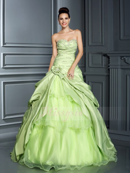 Ball Gown Sleeveless Sweetheart Taffeta Long Sage Dresses