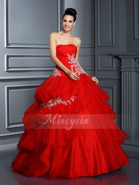 Ball Gown Sleeveless Strapless Organza Long Red Dresses