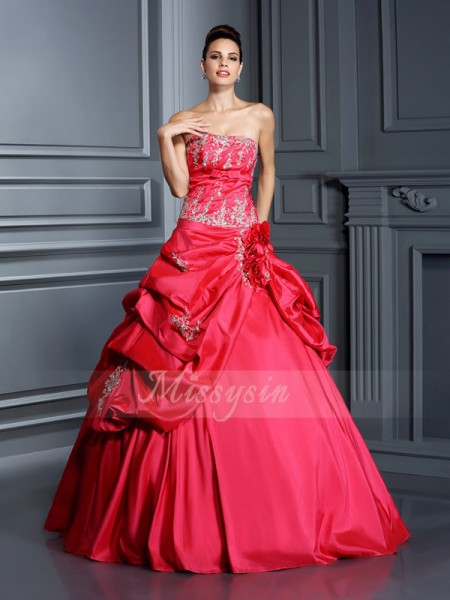 Ball Gown Sleeveless Strapless Taffeta Long Red Dresses