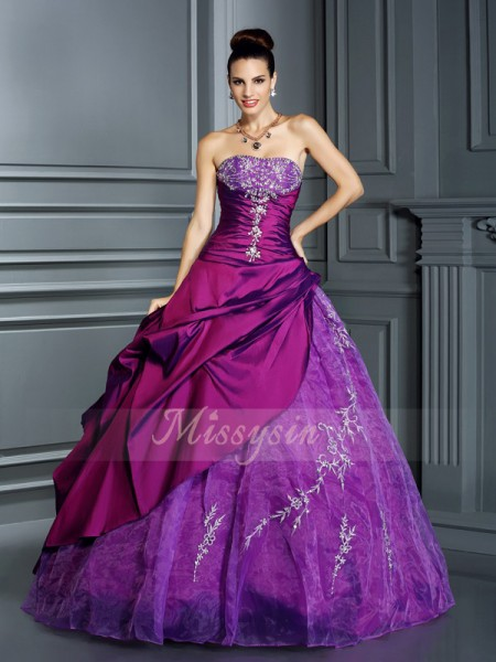 Ball Gown Sleeveless Strapless Taffeta Long Regency Dresses