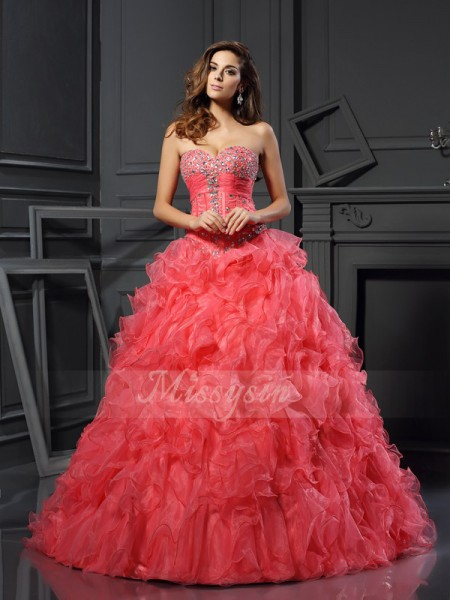 Ball Gown Sleeveless Sweetheart Organza Long Watermelon Dresses