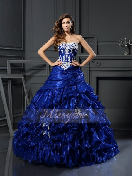 Ball Gown Sleeveless Sweetheart Tulle Long Royal Blue Dresses