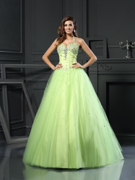 Ball Gown Sleeveless Halter Satin Long Green Dresses