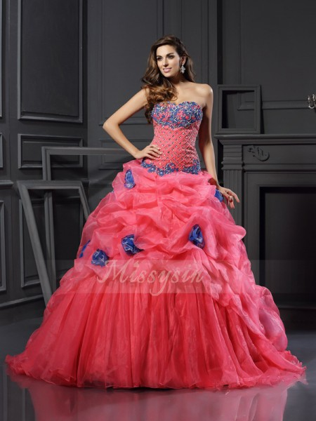 Ball Gown Sleeveless Sweetheart Organza Chapel Train Fuchsia Dresses