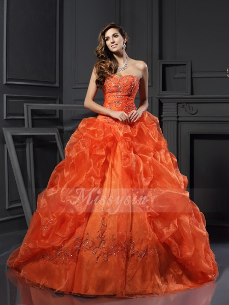 Ball Gown Sleeveless Sweetheart Organza Court Train Orange Dresses