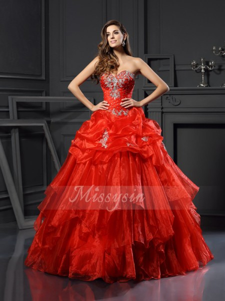 Ball Gown Sleeveless Sweetheart Tulle Long Red Dresses