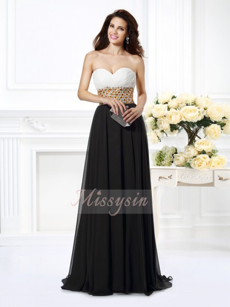 Sleeveless Sweetheart Chiffon Long Black Dresses