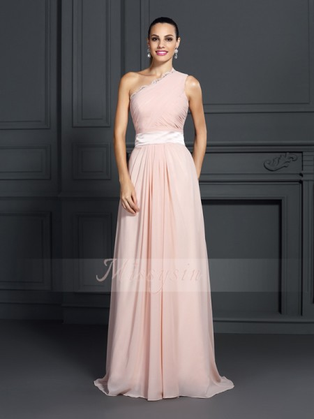 Sleeveless One-Shoulder Chiffon Sweep/Brush Train Pink Dresses