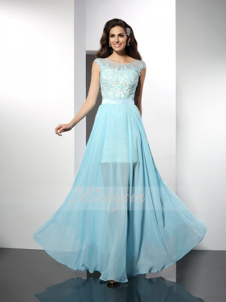 Sleeveless Bateau Chiffon Long Light Sky Blue Cocktail Dresses