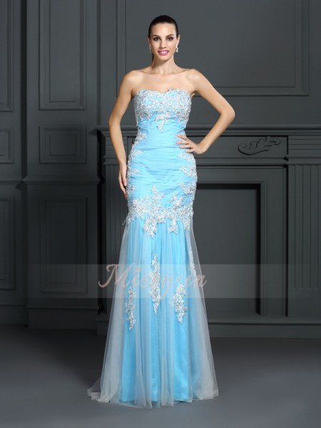 Sleeveless Strapless Elastic Woven Satin Long Blue Dresses