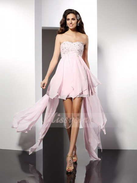 Sleeveless Sweetheart Chiffon Asymmetrical Pink Cocktail Dresses