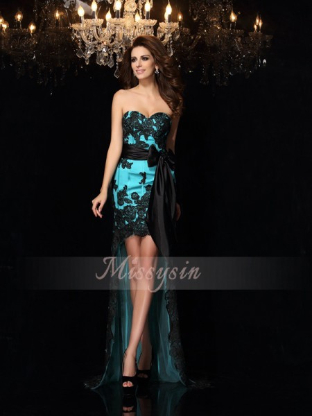 Sleeveless Sweetheart Satin Asymmetrical Blue Dresses