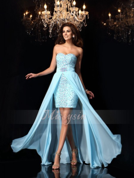 Sleeveless Sweetheart Chiffon Long Blue Dresses