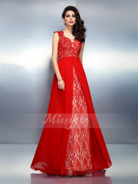 Sleeveless Bateau Net Sweep/Brush Train Red Dresses