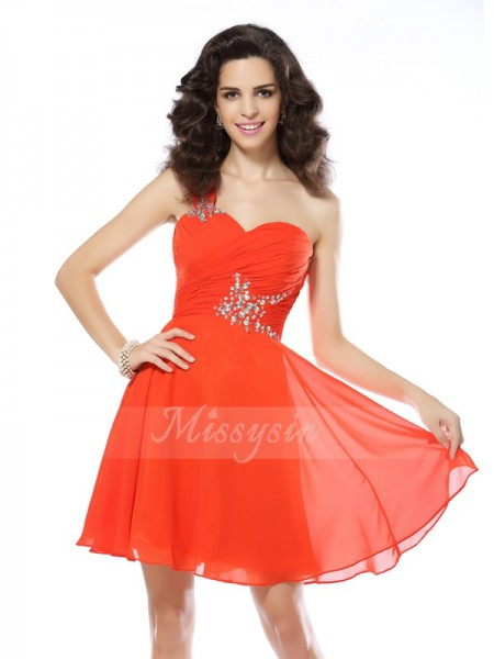 Sleeveless One-Shoulder Chiffon Short/Mini Orange Cocktail Dresses