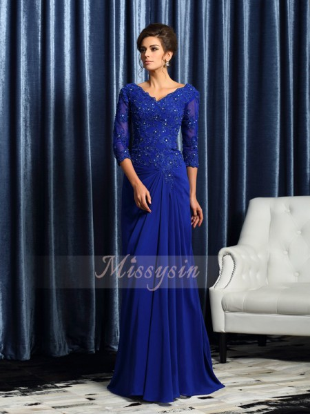3/4 Sleeves V-neck Chiffon Sweep/Brush Train Royal Blue Mother of the Bride Dresses