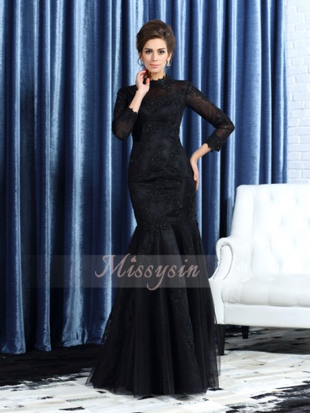 Long Sleeves High Neck Tulle Long Black Mother of the Bride Dresses