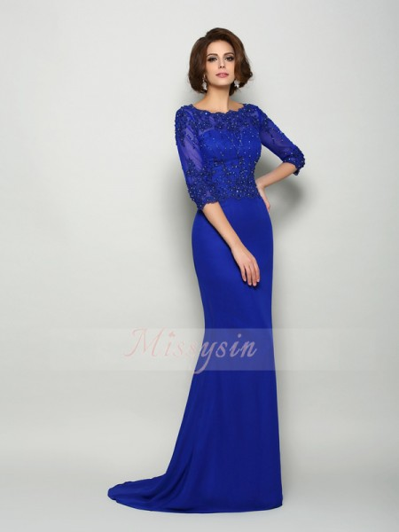 3/4 Sleeves Scoop Chiffon Sweep/Brush Train Royal Blue Mother of the Bride Dresses