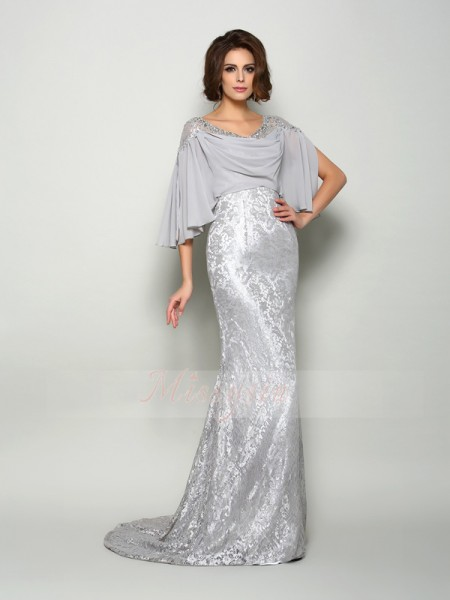 1/2 Sleeves Scoop Chiffon Sweep/Brush Train Silver Mother of the Bride Dresses