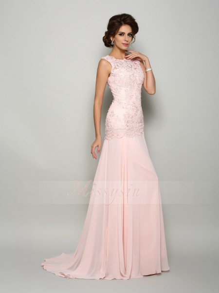 Sleeveless Scoop Chiffon Sweep/Brush Train Pearl Pink Mother of the Bride Dresses