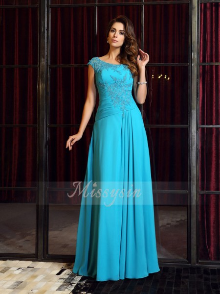 Sleeveless Scoop Chiffon Long Blue Dresses