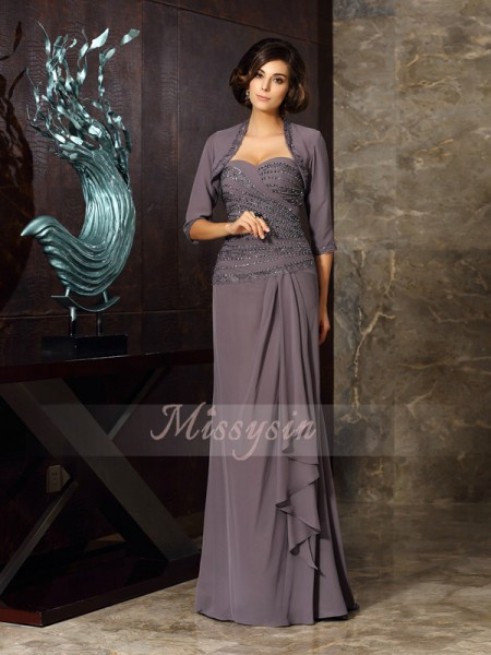 Sleeveless Sweetheart Chiffon Long Grey Mother of the Bride Dresses
