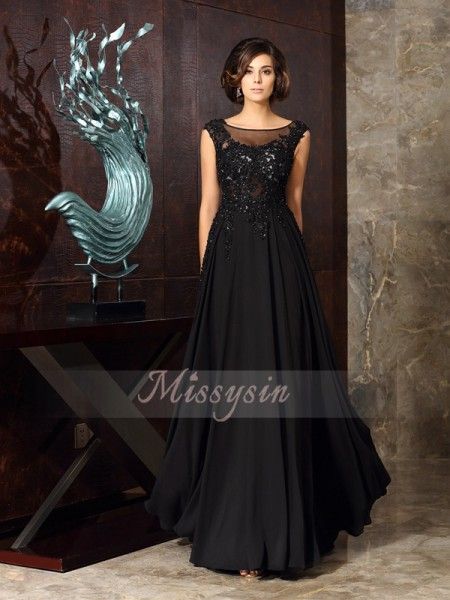 Sleeveless Scoop Chiffon Long Black Mother of the Bride Dresses