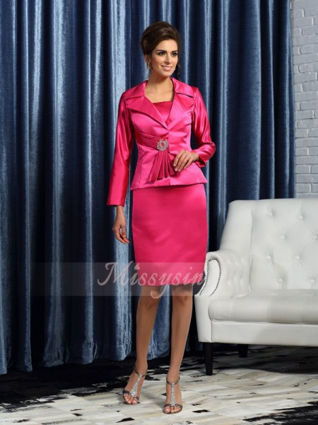 Sleeveless Square Satin Knee-Length Fuchsia Mother of the Bride Dresses
