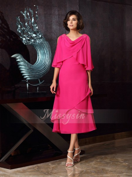 Sleeveless Scoop Chiffon Tea-Length Fuchsia Mother of the Bride Dresses