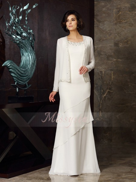Sleeveless Scoop Chiffon Long Ivory Mother of the Bride Dresses