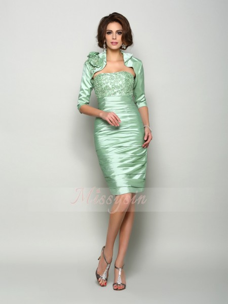 Sleeveless Strapless Taffeta Knee-Length Sage Mother of the Bride Dresses