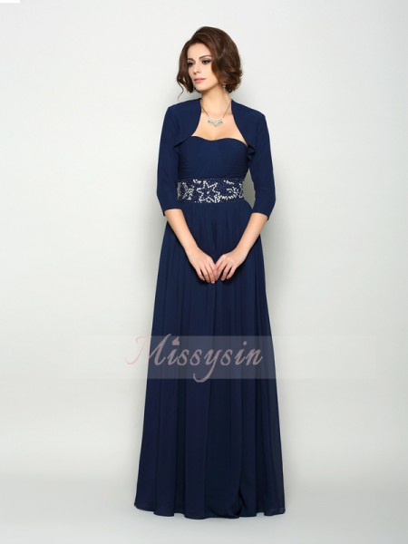 Sleeveless Sweetheart Chiffon Long Dark Navy Mother of the Bride Dresses