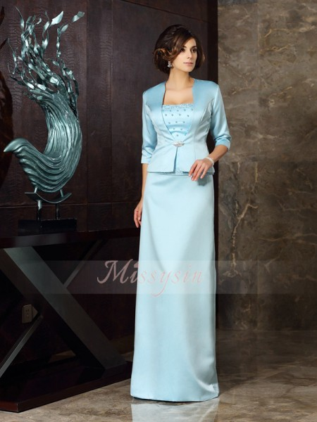 Sleeveless Strapless Satin Long Blue Mother of the Bride Dresses