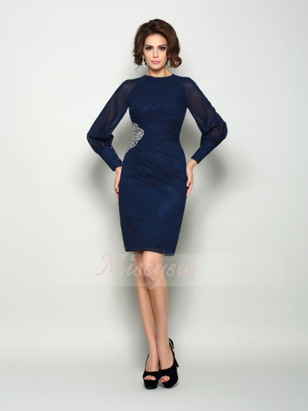Long Sleeves High Neck Chiffon Knee-Length Dark Navy Mother of the Bride Dresses