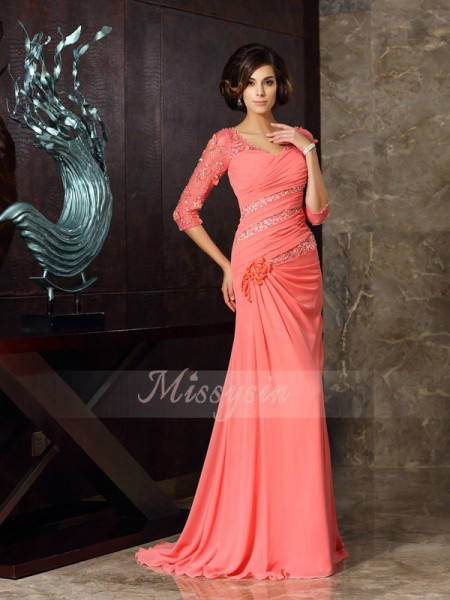 1/2 Sleeves Sweetheart Chiffon Sweep/Brush Train Watermelon Mother of the Bride Dresses