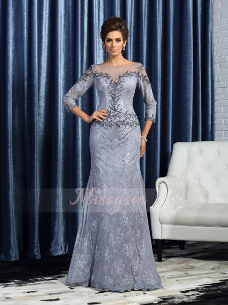 3/4 Sleeves Bateau Lace Long Grey Mother of the Bride Dresses