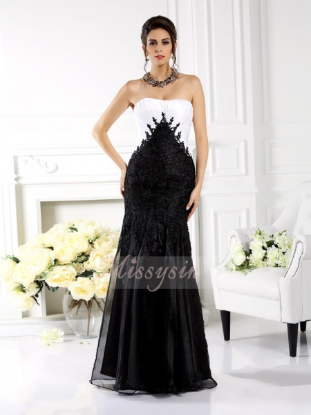 Sleeveless Strapless Tulle Long Black Dresses