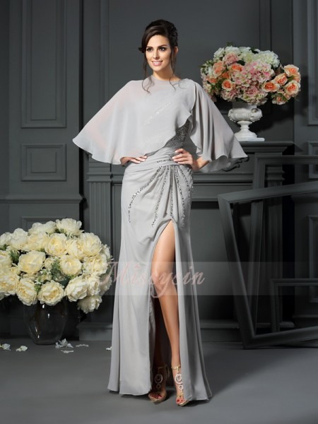 Sleeveless One-Shoulder Chiffon Long Silver Mother of the Bride Dresses