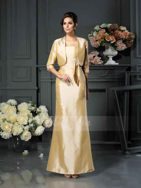 Sleeveless Straps Taffeta Ankle-Length Champagne Mother of the Bride Dresses