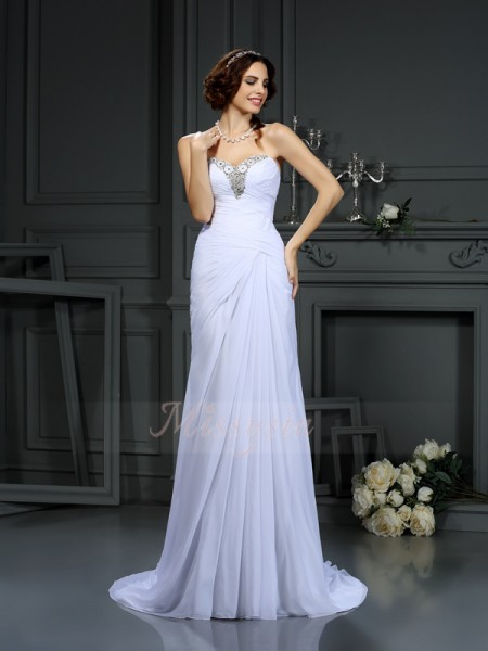 Sheath/Column Sleeveless Sweetheart Sweep/Brush Train White Wedding Dress