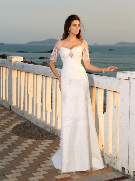 Sheath/Column Short Sleeves Sweetheart Long Ivory Wedding Dress