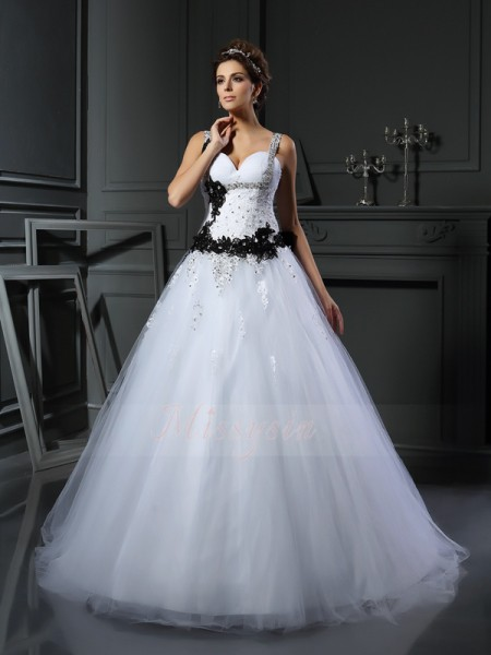 Ball Gown Sleeveless Straps Chapel Train White Wedding Dress