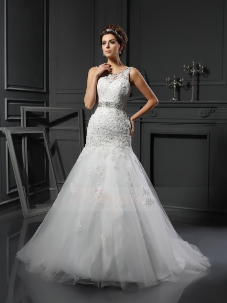 Sheath/Column Sleeveless Scoop Court Train Ivory Wedding Dress