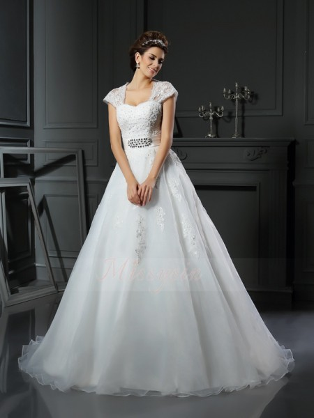 Ball Gown Sleeveless Square Chapel Train White Wedding Dress