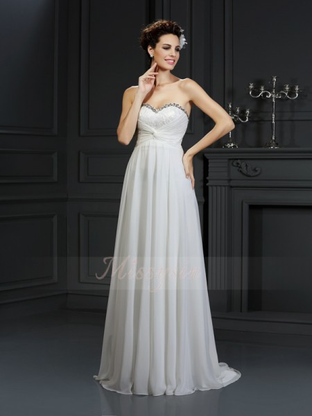 A-Line/Princess Sleeveless Sweetheart Chapel Train White Wedding Dress