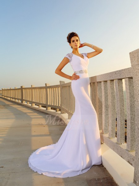 Sheath/Column Sleeveless V-neck Court Train White Wedding Dress