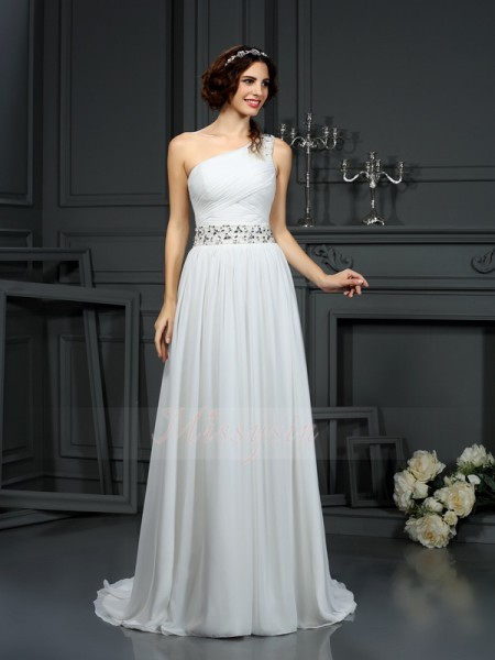 A-Line/Princess Sleeveless One-Shoulder Court Train Ivory Wedding Dress